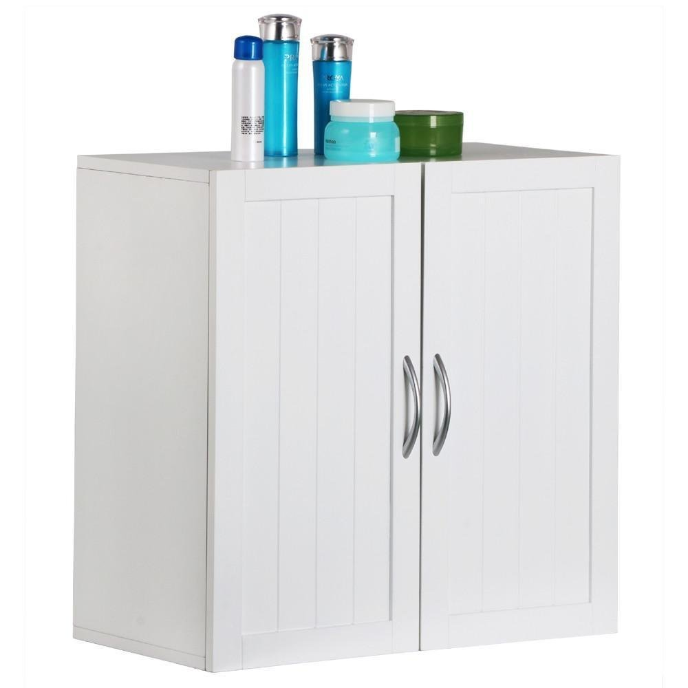 Topeakmart White Wooden Bathroom Wall Cabinet