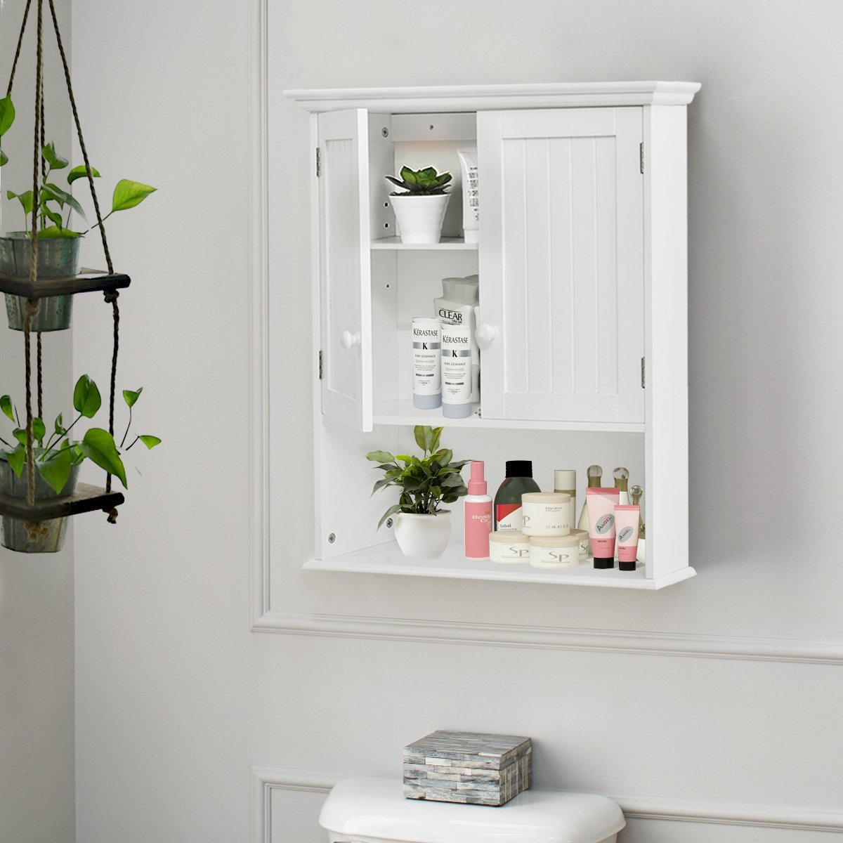 Tangkula Wall Mount Bathroom Cabinet